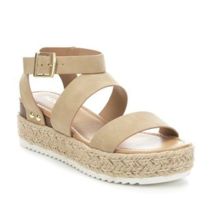 'Soda' Brand Taupe Wedge Sandals